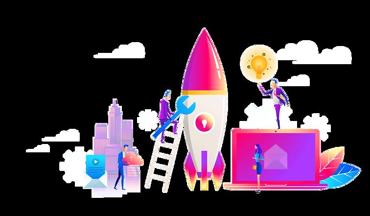 spaceship, ladder, laptop, team, lamp, illustration