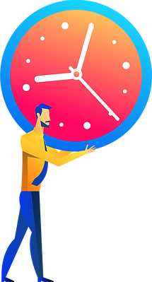 man holding clock, animated