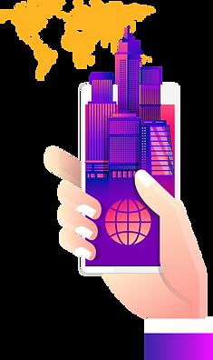 illustration, artwork, skyscrapers, hand, smartphone
