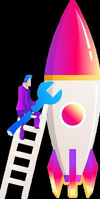 spaceship, man, ladder, animated