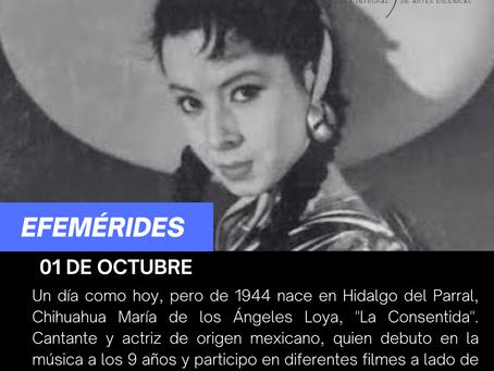 """Aniversario del natalicio de la cantante  y actriz María de los Ángeles Loya, """"La Consentida"""""""