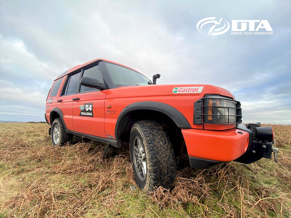 Our latest addition to the DTA equipment war-chest is the ... G4 Challenge Land Rover Discovery. A beast of a vehicle custom designed and manufactured especially for the Land Rover G4 Challenge to be capable of going just about anywhere! The original 2003 G4 Challenge Discovery specification was serious enough in its own right, but our model has been significantly upgraded beyond even that ! Over the coming weeks we'll first add our Drone Tech Aerospace Ltd and DTA branding, although not of course spoiling any of the existing G4 livery. We'll then polish her up and take her out to take a photo series showing off the very special under-gear. So...watch this space !