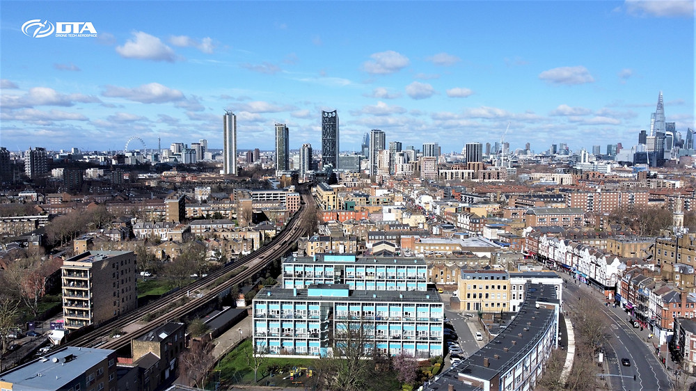 Beautifully composed drone photograph of the Central London Skyline was shot during a run of the mill drone roof inspection project this week in Central London.  Click through to find our more about drone inspection, survey and media projects that Drone Tech Aerospace has completed in Central and Greater London. https://www.dronetechaerospace.co.uk/dta-drone-surveys-london
