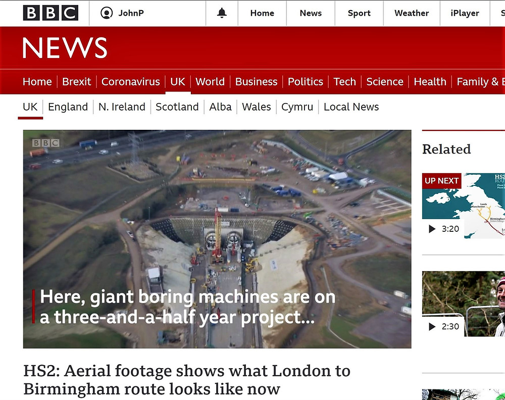 Drone Tech Aerospace Ltd (DTA) drone PR video features prominently on BBC News website and Mobile App reporting progress in the construction of the HS2 high-speed rail link from London to Manchester. DTA supplies state of the art land topographical surveying services on the project in addition to drone photography and video for construction site monitoring and progress reporting.
