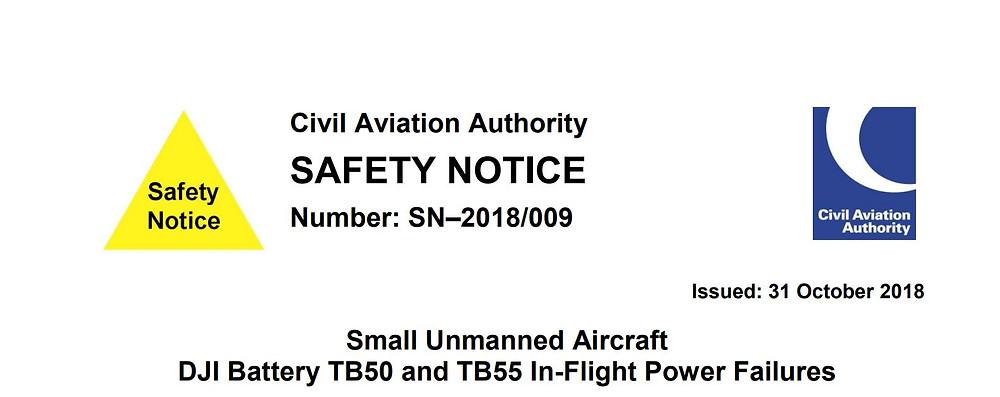 Uk Civil Aviation Authority Safety Notice SN-2018/009