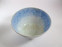 Saladier Nacré Bleu Céramique Poterie du Chant de la Fontaine