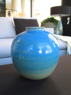 Grand vase nacré bleu