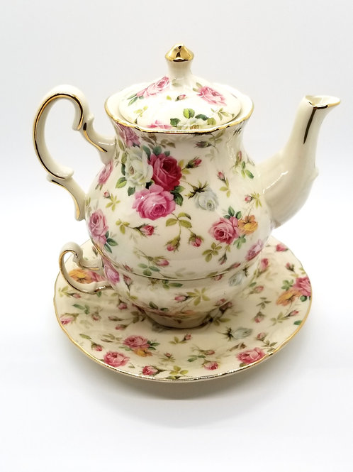 Rose Chintz Tea For One Set