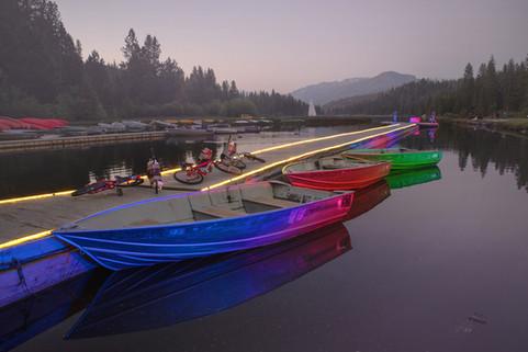 Boats on Hume Lake at Dusk