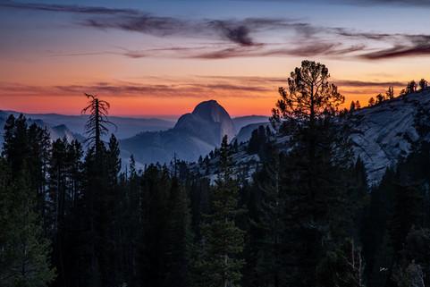 Half Dome under a Sunset Sky