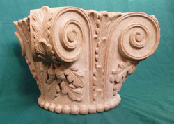Hand carved oak leaf capital, made from mahogany wood. 12 inches high