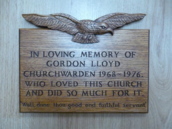 Carved memorial plaque, in oak with RAF eagle