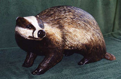 Carved and painted life size badger