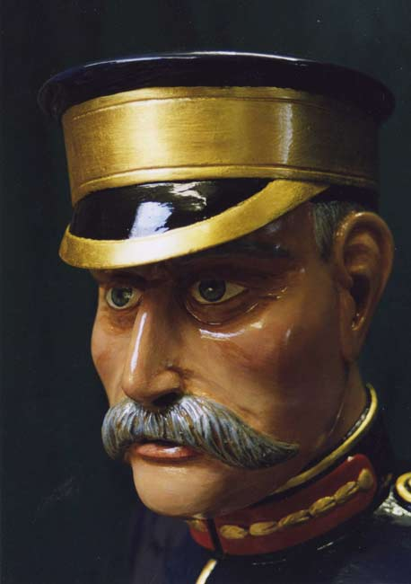 Carved and painted head of General Buller of a carousel horse