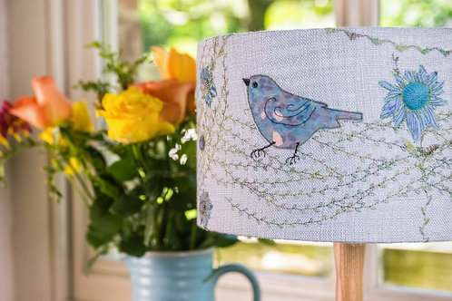 Handmade linen Lampshade with bird and flowers appliqued