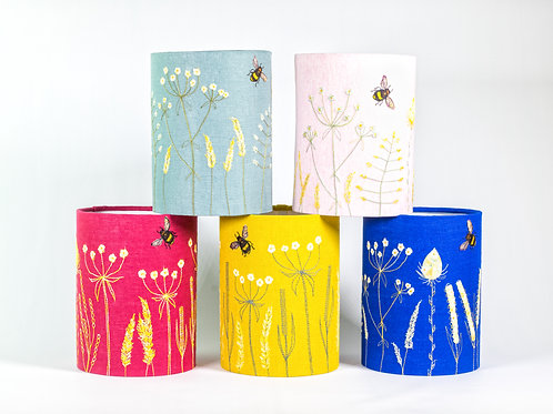 Handmade Free-machine embroidered and appliqued lampshade to