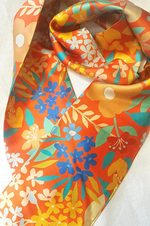 Handmade scarves using 100% silk satin fabric in beautiful rich colours