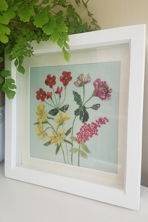 Colourful embroidery Framed