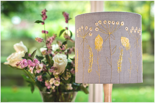 Lampshade 20 cm diameter, free motion embroidery and appli