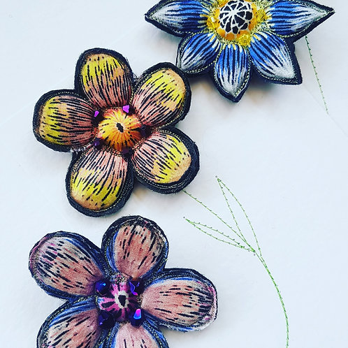 Handmade 100% silk brooches