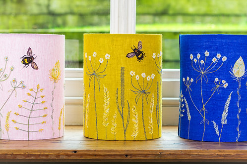 Handmade Free-machine embroidered and appliqued lampshade includes wood lampbase