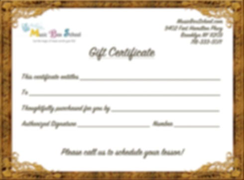 Unique Holiday/Christmas or Birthday gift. Surprise your loved ones with private music lessons Gift Certificate!
