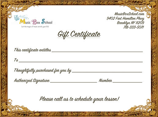 Music lessons gift certificate in Sheepshead Bay, Marine Park, Madison, Gravesend, Mill Basin