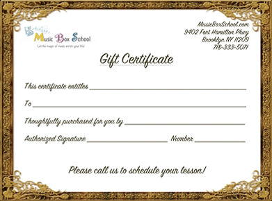 Music and dance lessons gift certificate