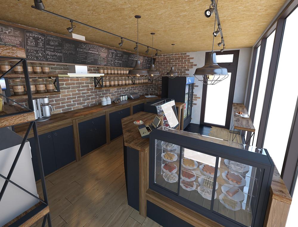 Кафе на остановке в стиле Лофт