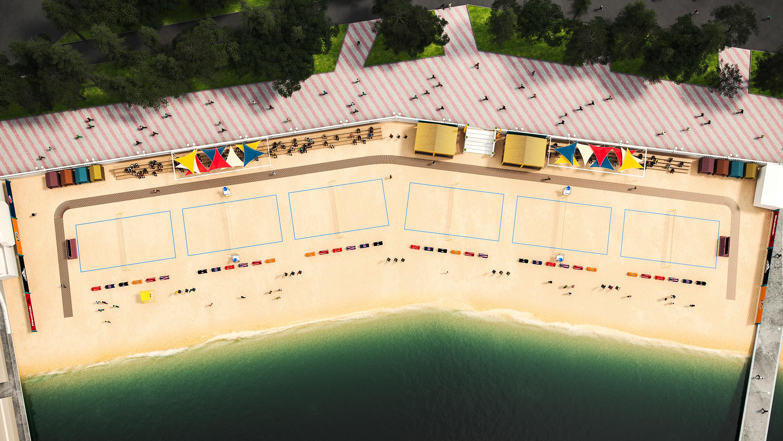 Вид сверху. Спорт-пляж