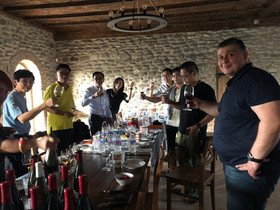 Our visitors from Hong Kong enjoying and talking about our wines at Kapistoni Marani.