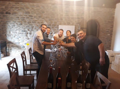Visitors from Italy enjoying a tasting of our wines at Kapistoni Marani.