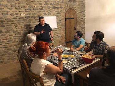 Spanish journalists tasting our wines at Kapistoni Marani.
