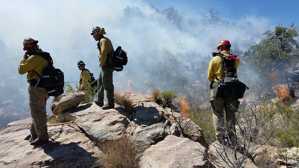 Imprisoned firefighters survey a smoldering fire in Arizona