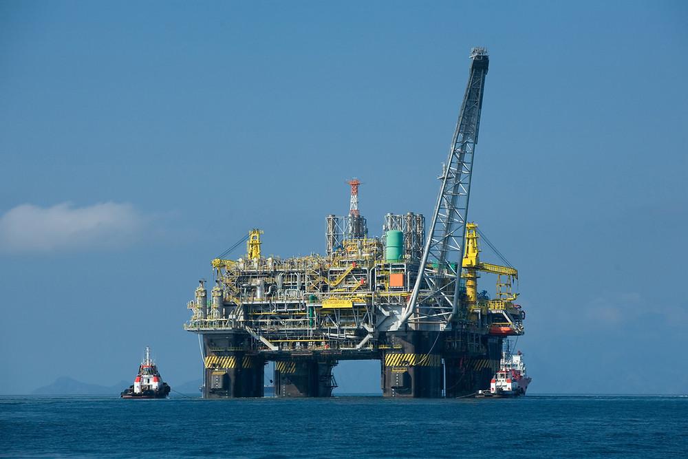 an oil platform in the ocean