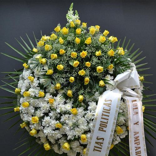 Corona clavel, centro de rosas y rosas en el aro (Ref. 24)