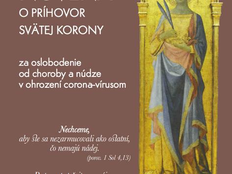Novena o príhovor patrónky proti epidémiám sv. Korony