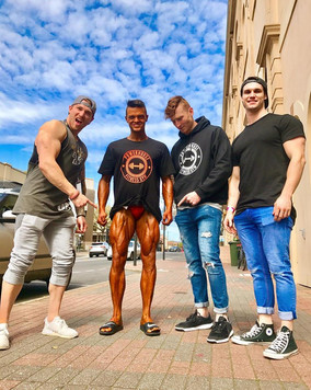 Camerson Stephens surrounded by his Powerhouse Crew for his first INBA Competition at Norwood Town Hall