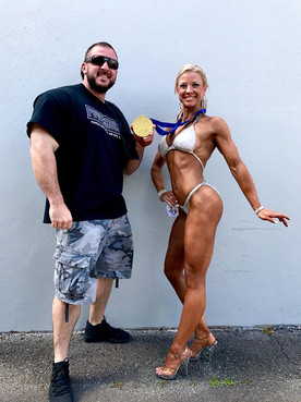 Big matty Smedley and Tash Clark celebrating their SA IFBB win in 2017