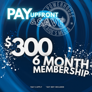 Upfront membership for 6 Months. *gst not included