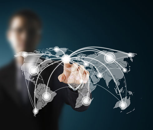 Business men hand pushing social network
