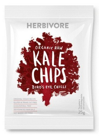 Herbivore - Organic Raw Bird's Eye Chili Kale Chips. 25g.