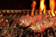 Beef sosaties, marinated.