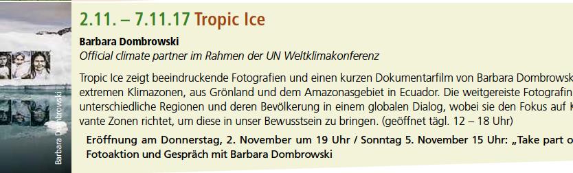 Exhibition, Künstlerforum Bonn 2.-7.11. during COP23