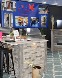 JRS Landscaping exhibitor booth hardscaping stone island kitchen
