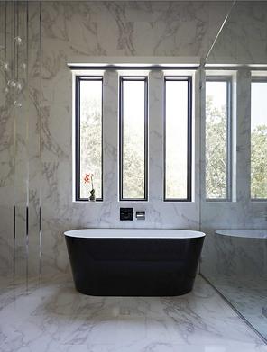 Bathroom with soaking tub and windows