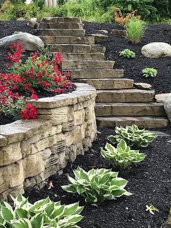 hardscape stone steps retaining wall landscaping plants