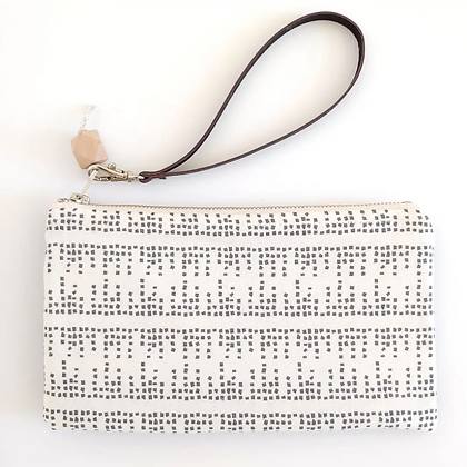 Morse Code & Black Cork | Mini Wristlet