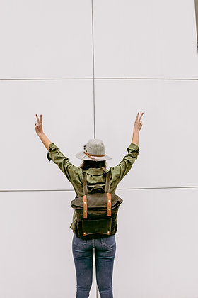 Army Green Roll Top Backpack