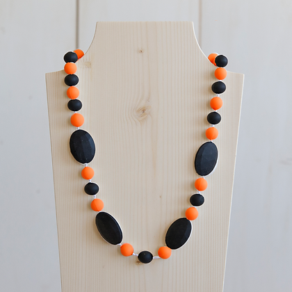 Wholesale Teething Necklace - Black/Orange